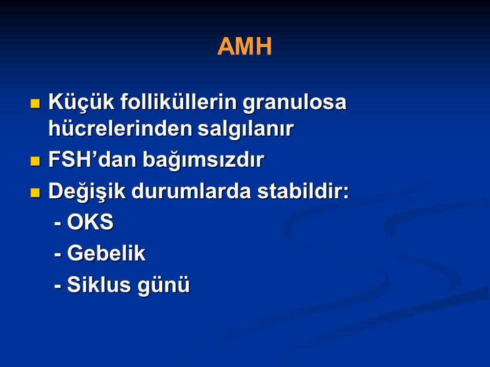 AMH Küçük folliküllerin granulosa hücrelerinden salgılanır