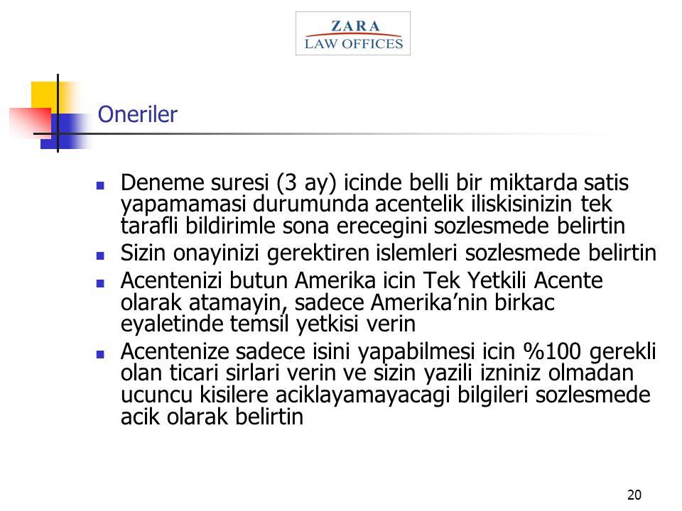Oneriler
