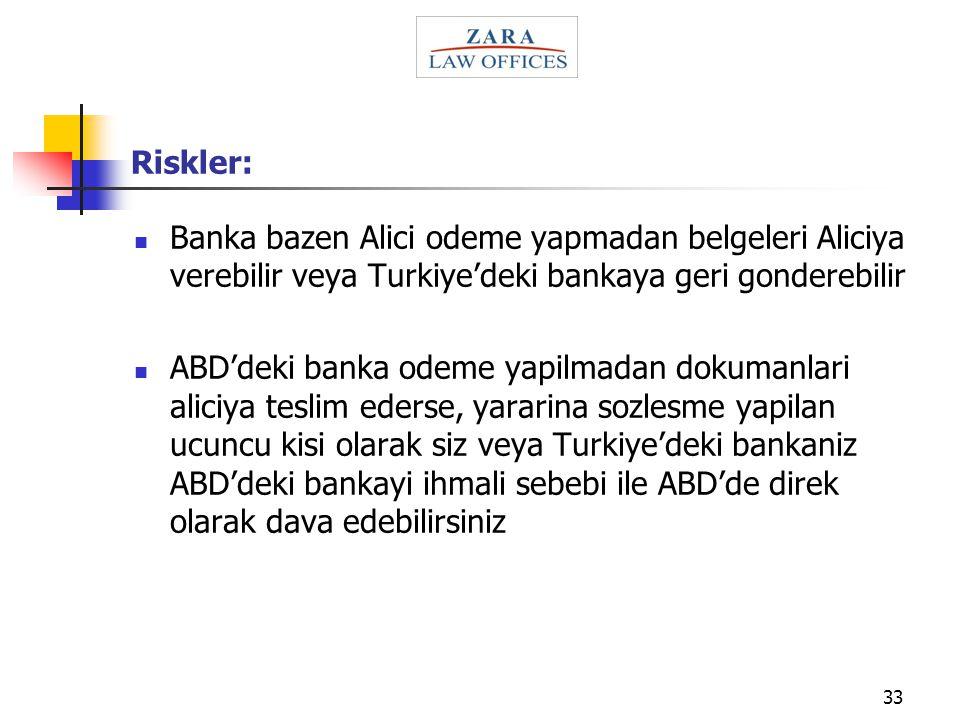 Riskler: Banka bazen Alici odeme yapmadan belgeleri Aliciya verebilir veya Turkiye'deki bankaya geri gonderebilir.