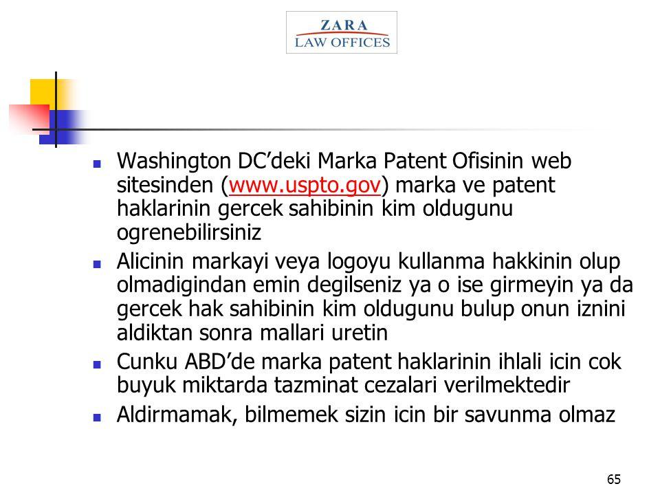Washington DC'deki Marka Patent Ofisinin web sitesinden (www. uspto