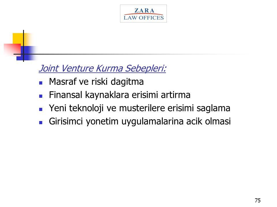 Joint Venture Kurma Sebepleri: