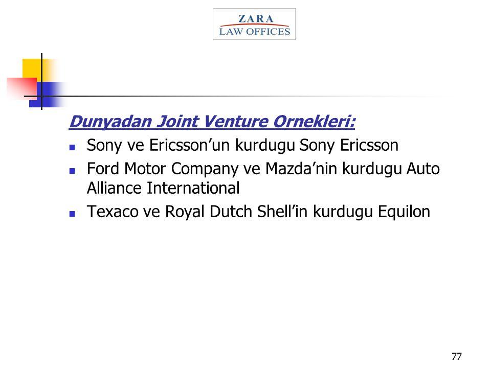Dunyadan Joint Venture Ornekleri:
