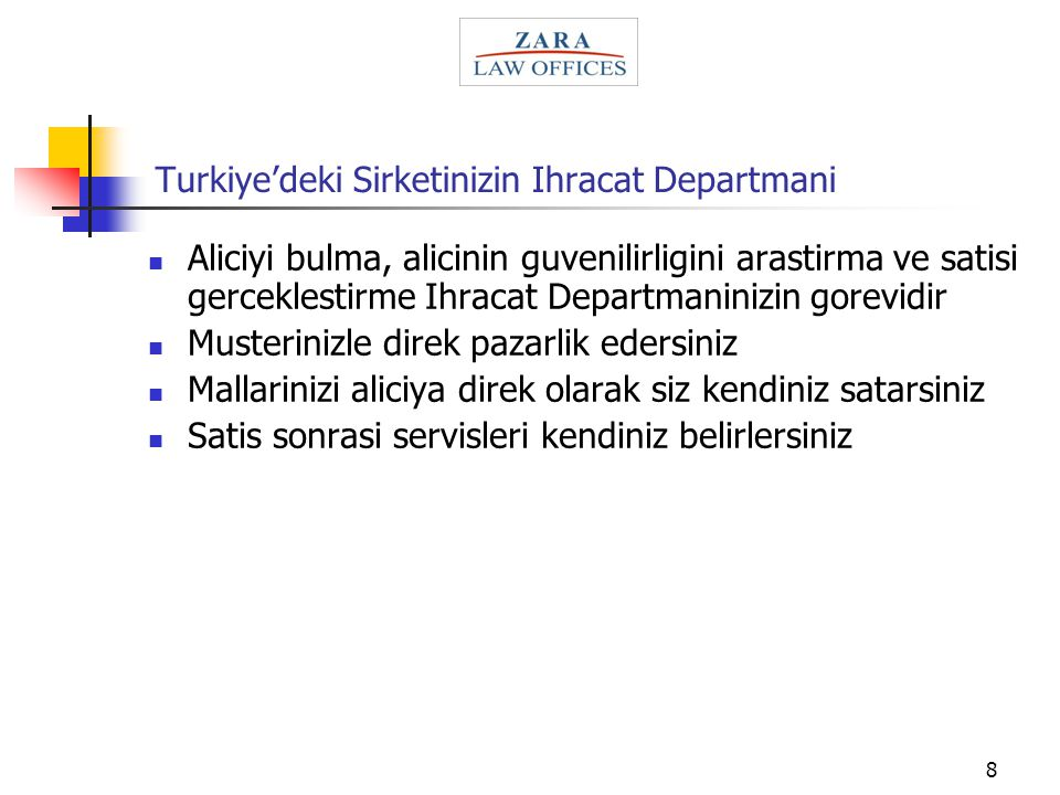 Turkiye'deki Sirketinizin Ihracat Departmani