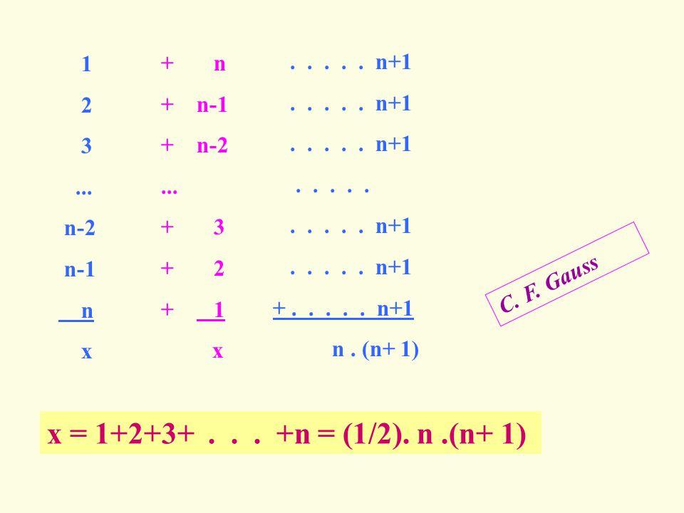 x = 1+2+3+ . . . +n = (1/2). n .(n+ 1) 1 + n . . . . . n+1 2 + n-1 3