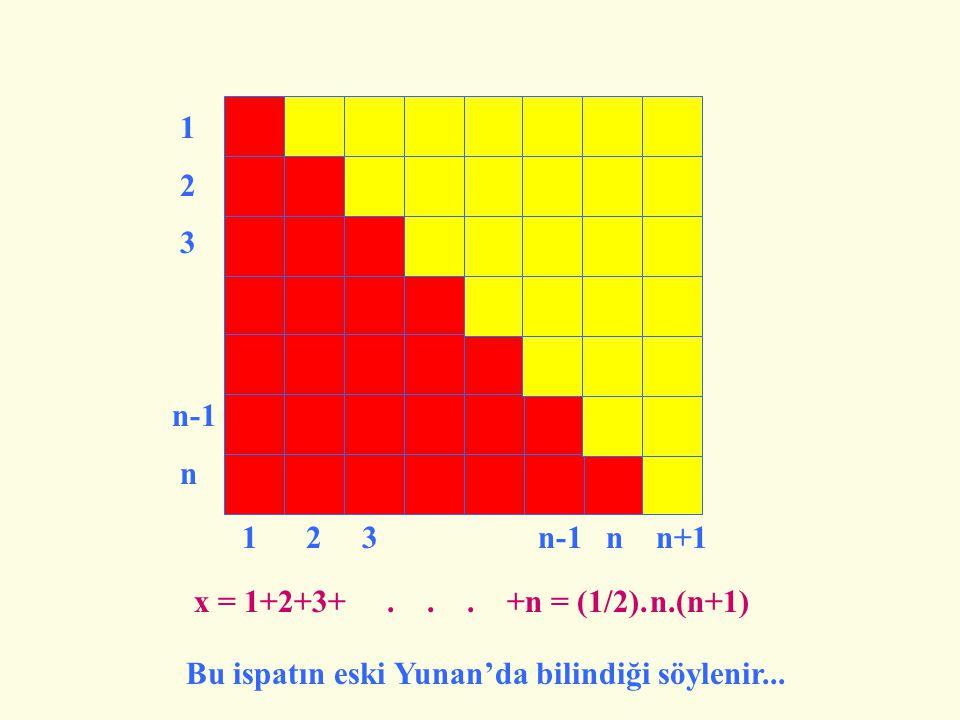 1 2. 3. n-1. n. 1 2 3 n-1 n n+1. x = 1+2+3+ . . . +n = (1/2).
