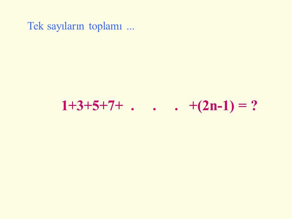 Tek sayıların toplamı ... 1+3+5+7+ . . . +(2n-1) =