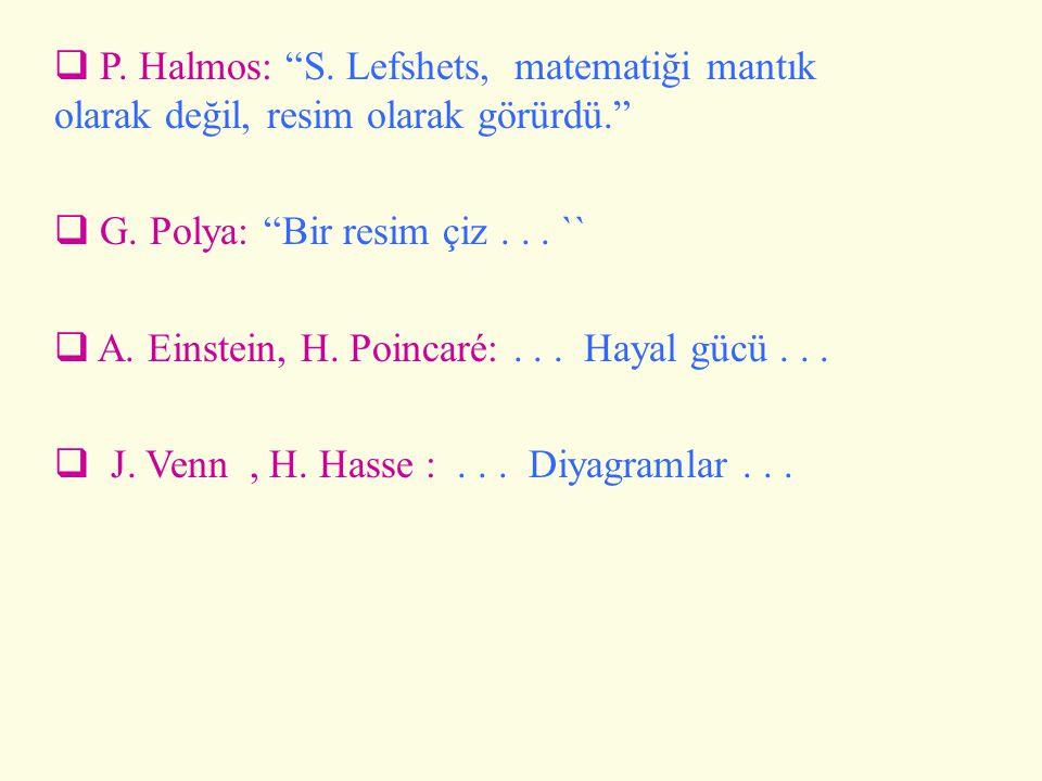 P. Halmos: S. Lefshets, matematiği mantık olarak değil, resim olarak görürdü.