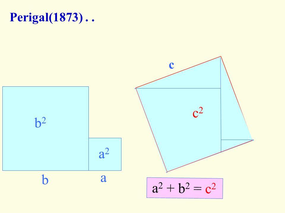 Perigal(1873) . . b a c b a c2 b2 a c a2 a2 + b2 = c2