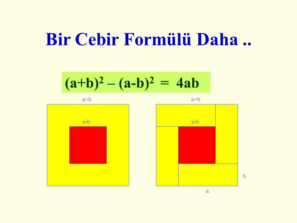 Bir Cebir Formülü Daha .. (a+b)2 – (a-b)2 = 4ab a+b a+b a-b a-b b a