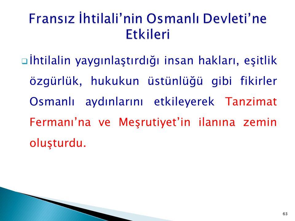 Fransız İhtilali'nin Osmanlı Devleti'ne Etkileri
