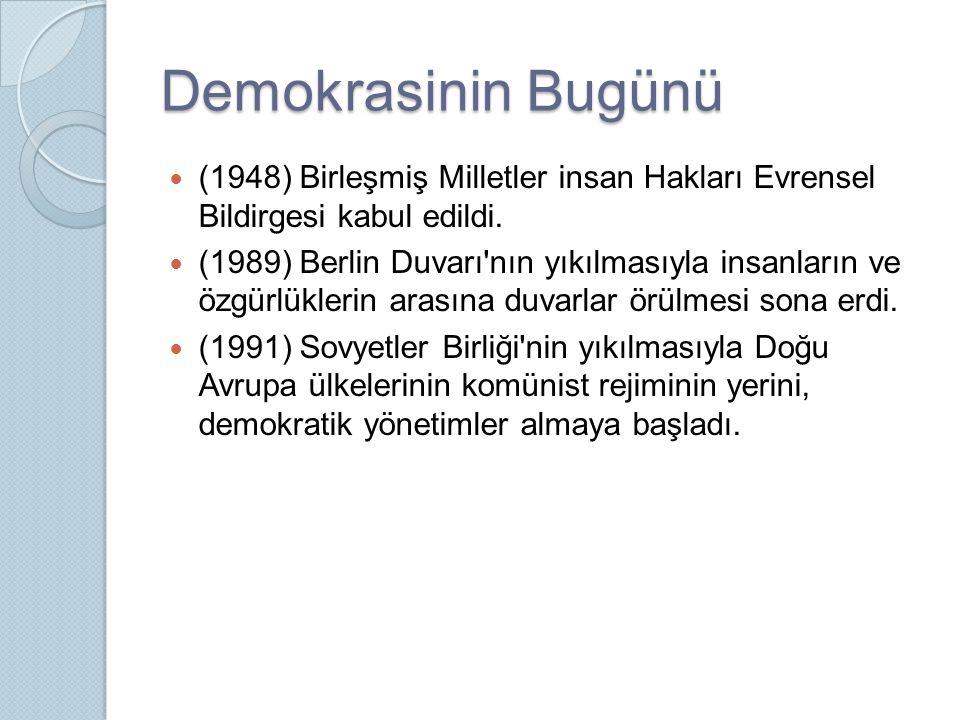 Demokrasinin Bugünü (1948) Birleşmiş Milletler insan Hakları Evrensel Bildirgesi kabul edildi.