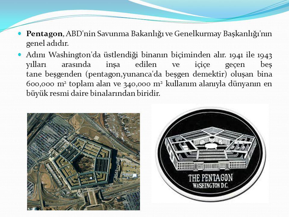 Pentagon, ABD nin Savunma Bakanlığı ve Genelkurmay Başkanlığı nın genel adıdır.