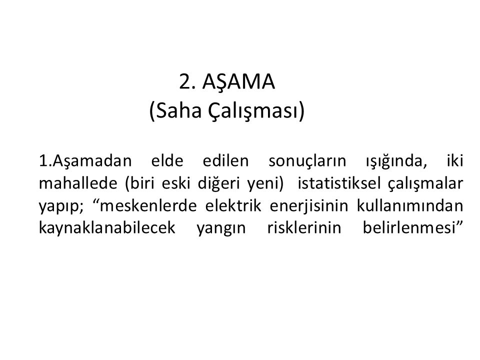 2. AŞAMA (Saha Çalışması)