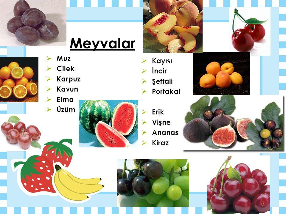 Meyvalar Muz Kayısı Çilek İncir Karpuz Şeftali Kavun Portakal Elma