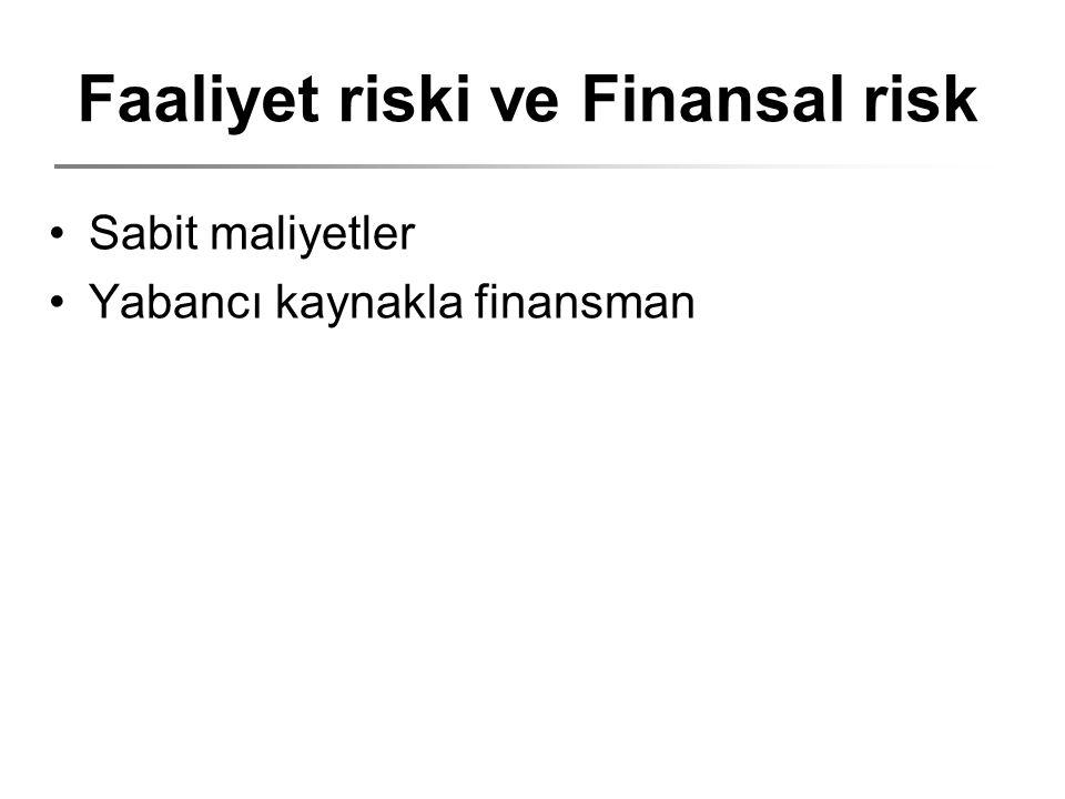 Faaliyet riski ve Finansal risk