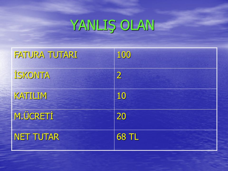 YANLIŞ OLAN FATURA TUTARI 100 İSKONTA 2 KATILIM 10 M.ÜCRETİ 20
