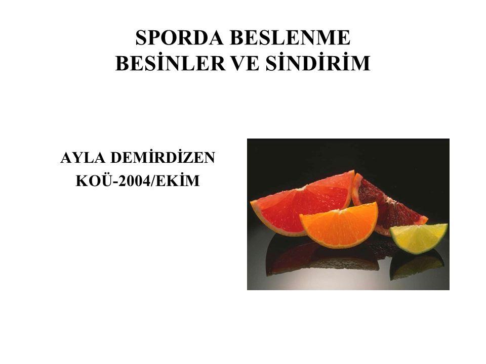 SPORDA BESLENME BESİNLER VE SİNDİRİM