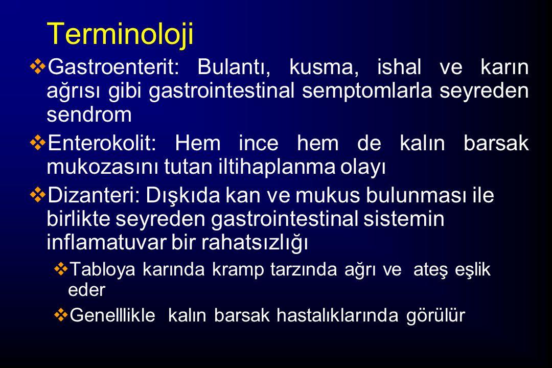 Terminoloji Gastroenterit: Bulantı, kusma, ishal ve karın ağrısı gibi gastrointestinal semptomlarla seyreden sendrom.