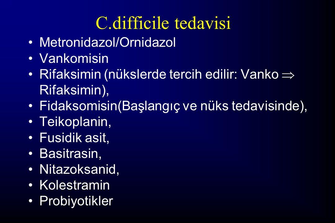 C.difficile tedavisi Metronidazol/Ornidazol Vankomisin