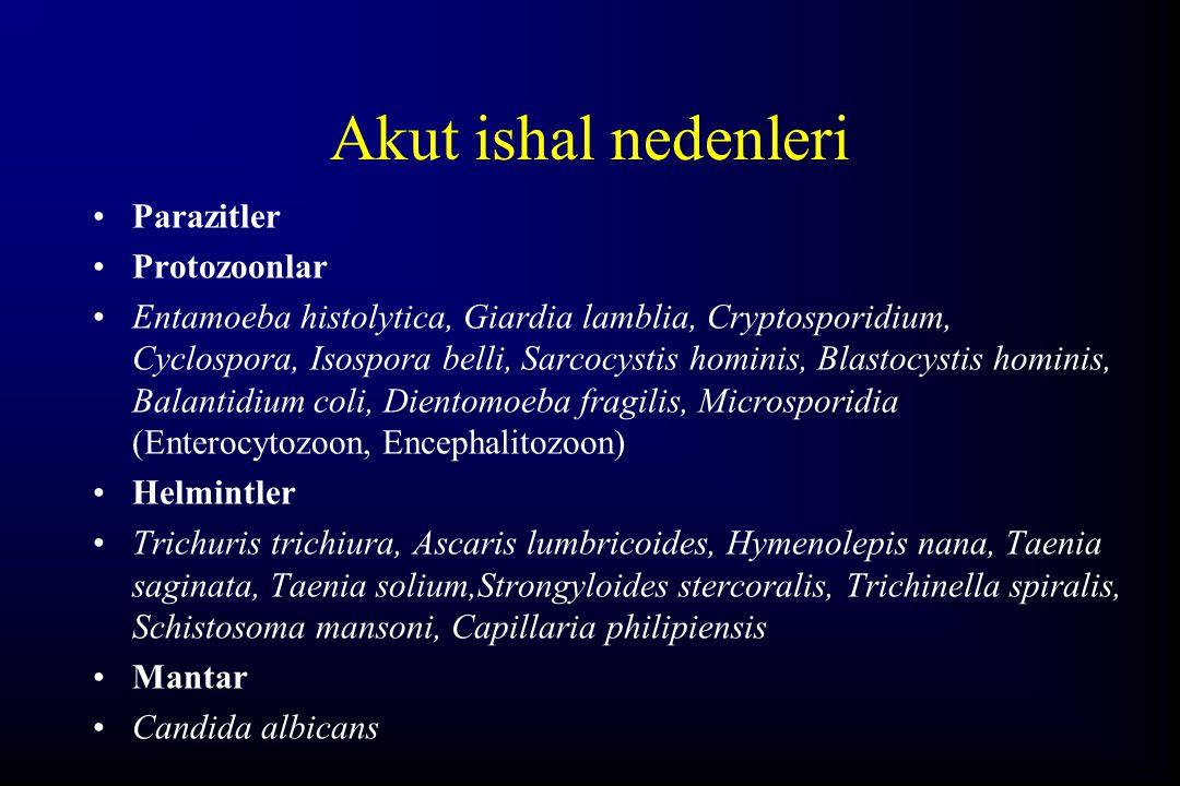 Akut ishal nedenleri Parazitler Protozoonlar