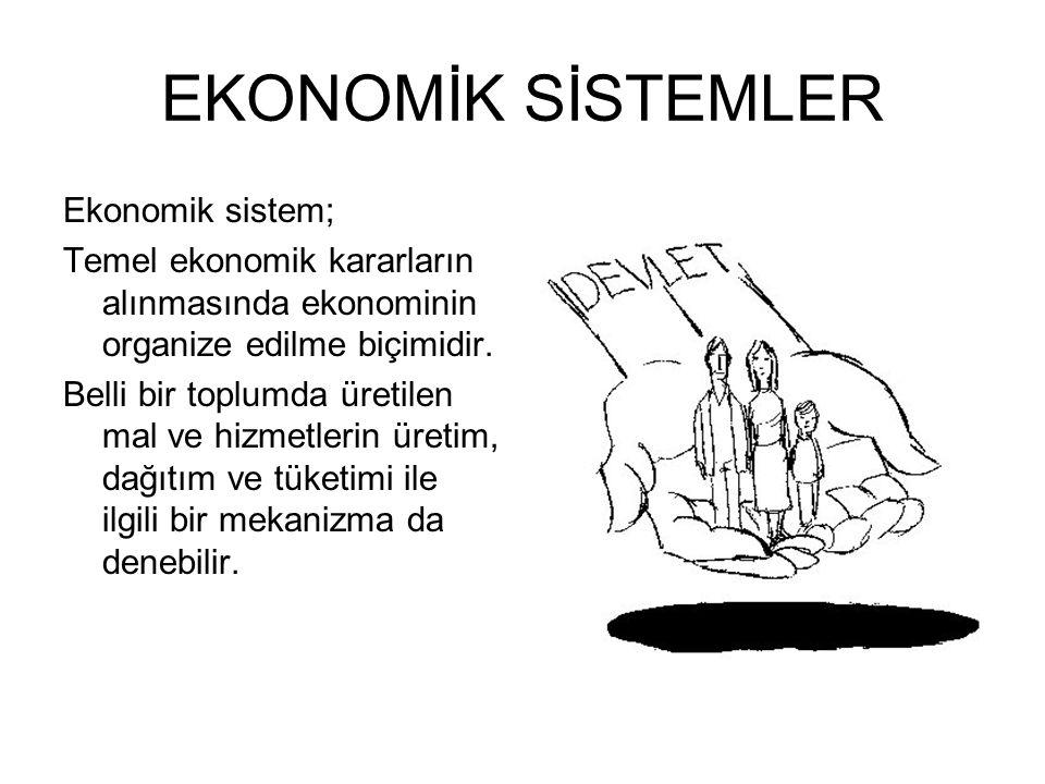 EKONOMİK SİSTEMLER Ekonomik sistem;