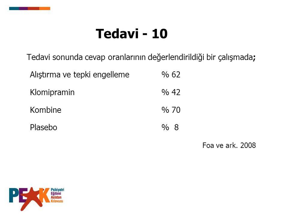 Tedavi - 10 Tedavi sonunda cevap oranlarının değerlendirildiği bir çalışmada; Alıştırma ve tepki engelleme % 62.