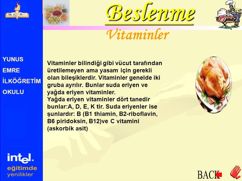 Beslenme Vitaminler YUNUS EMRE