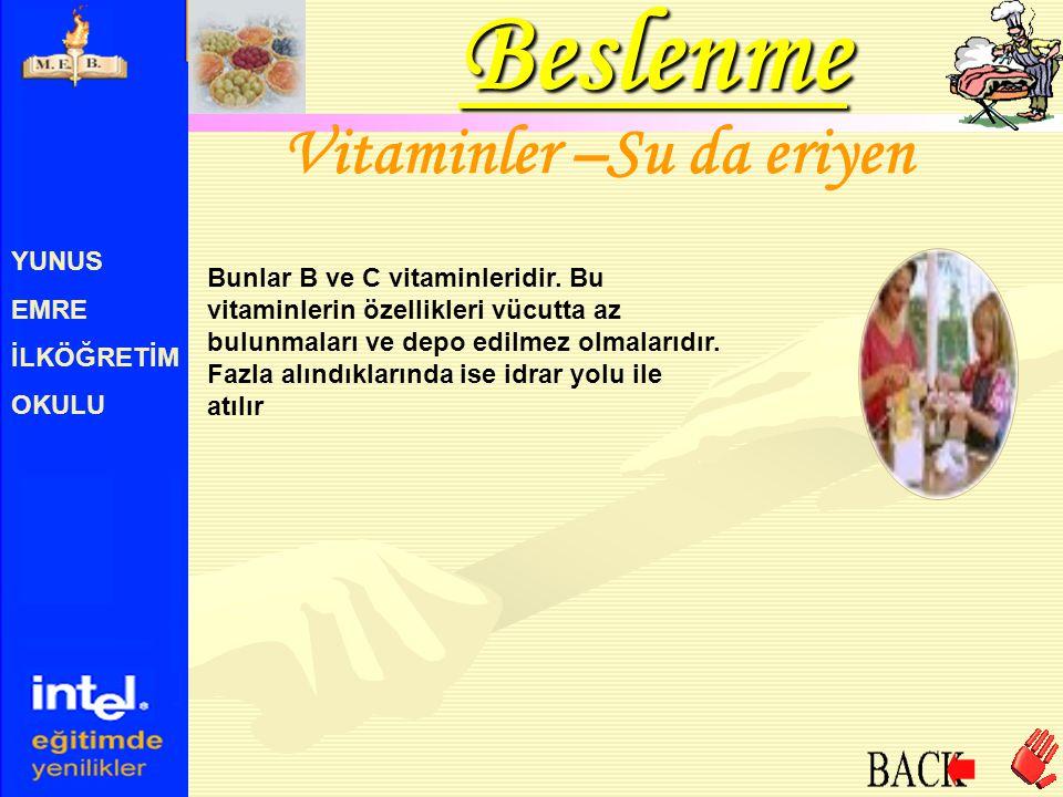 Vitaminler –Su da eriyen