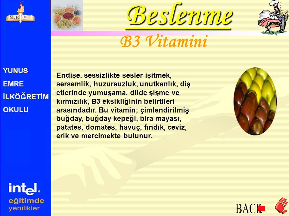 Beslenme B3 Vitamini YUNUS EMRE