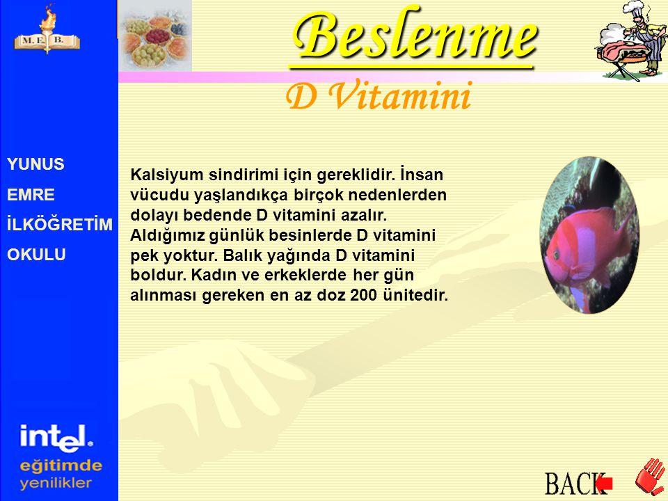 Beslenme D Vitamini YUNUS EMRE