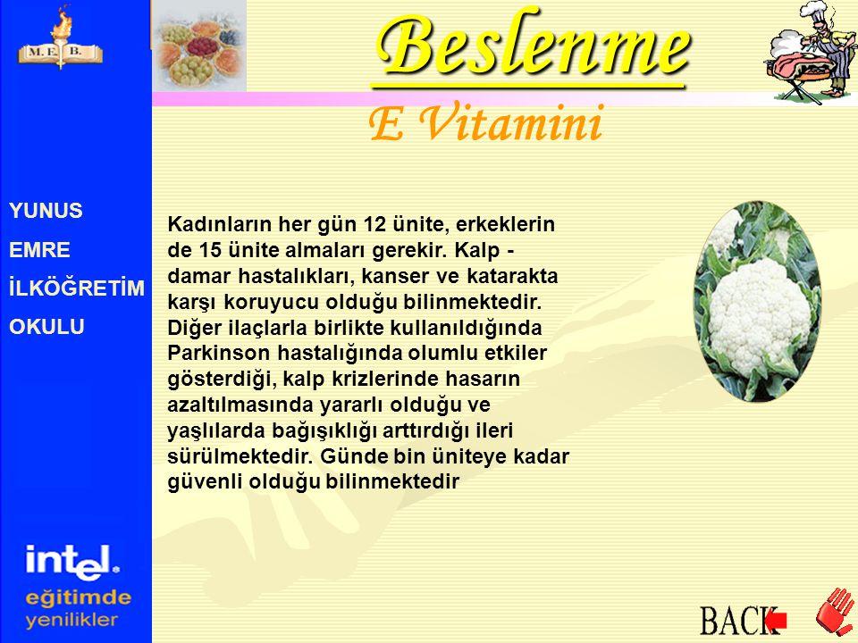 Beslenme E Vitamini YUNUS EMRE