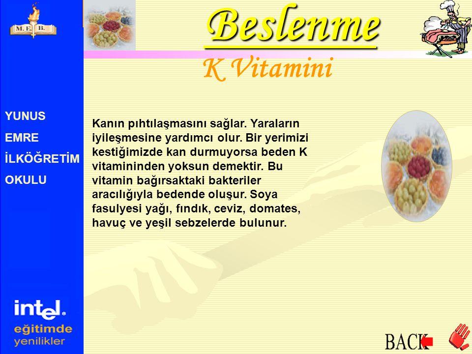 Beslenme K Vitamini YUNUS EMRE