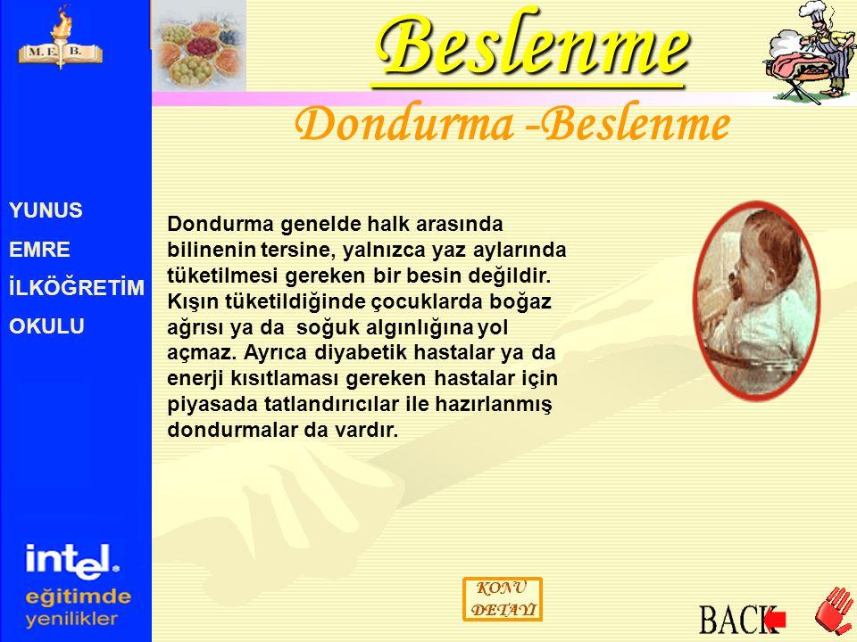 Beslenme Dondurma -Beslenme YUNUS EMRE