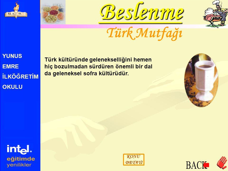 Beslenme Türk Mutfağı YUNUS EMRE
