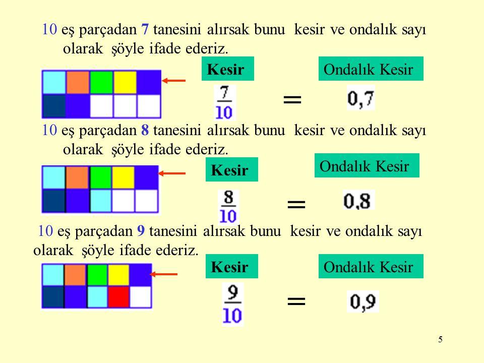 10 eş parçadan 7 tanesini alırsak bunu kesir ve ondalık sayı