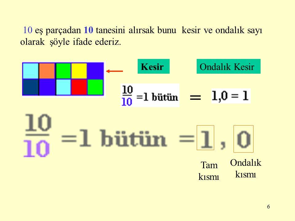 10 eş parçadan 10 tanesini alırsak bunu kesir ve ondalık sayı olarak şöyle ifade ederiz.
