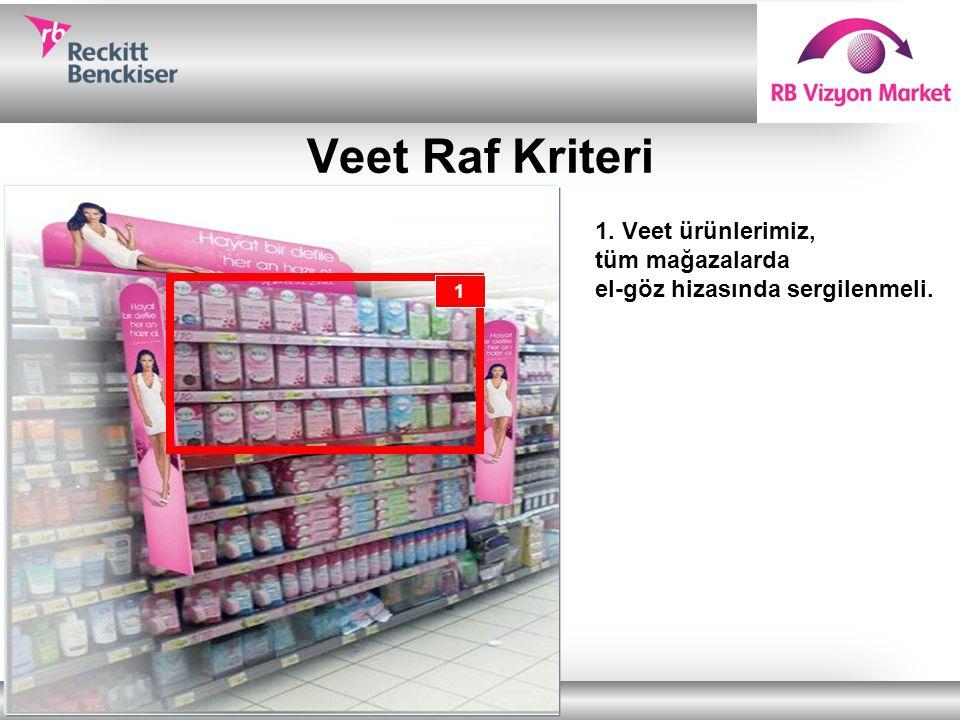 Veet Raf Kriteri Veet ürünlerimiz, tüm mağazalarda el-göz hizasında sergilenmeli. 1