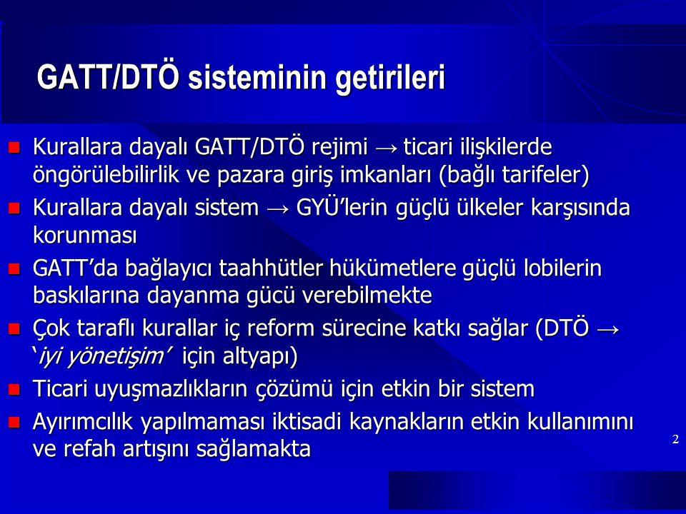 GATT/DTÖ sisteminin getirileri