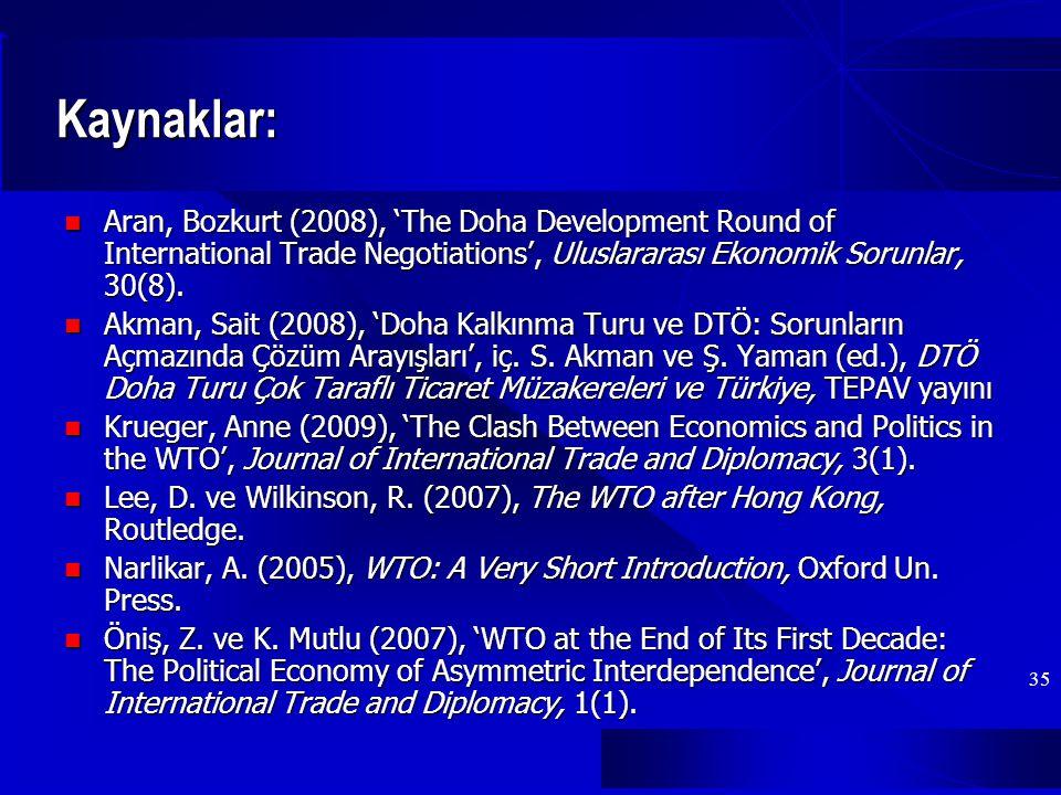 Kaynaklar: Aran, Bozkurt (2008), 'The Doha Development Round of International Trade Negotiations', Uluslararası Ekonomik Sorunlar, 30(8).