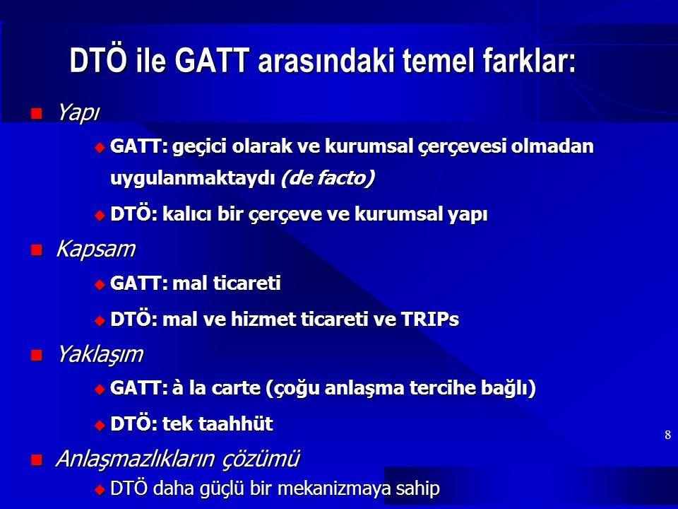DTÖ ile GATT arasındaki temel farklar: