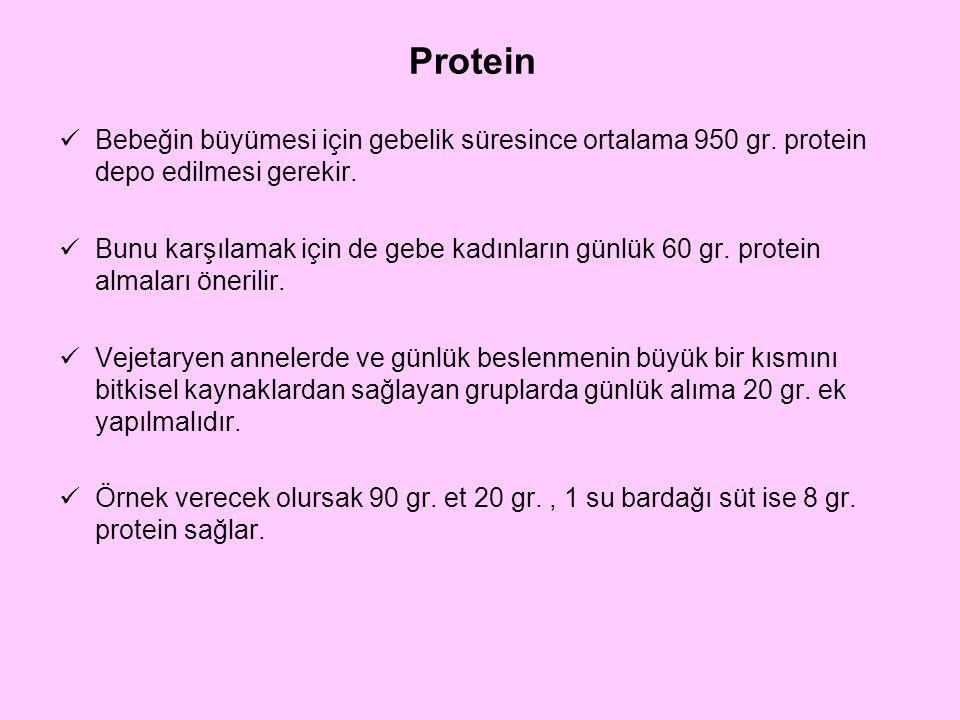 Protein Bebeğin büyümesi için gebelik süresince ortalama 950 gr. protein depo edilmesi gerekir.