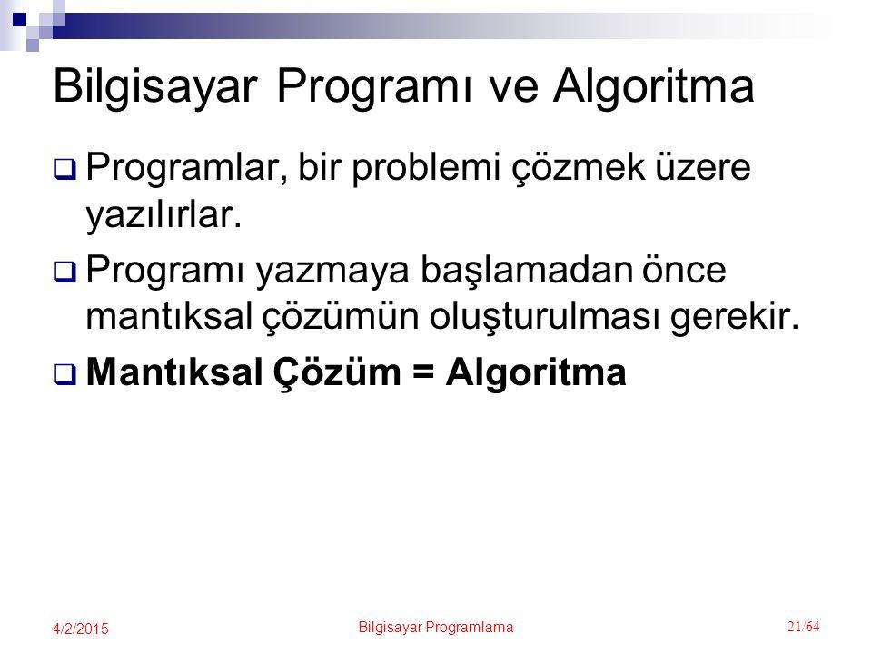 Bilgisayar Programı ve Algoritma