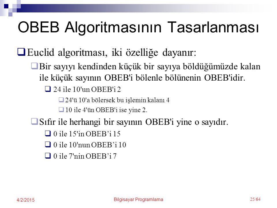OBEB Algoritmasının Tasarlanması