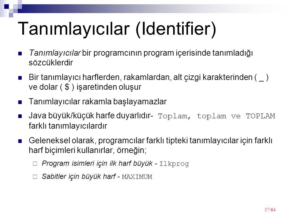 Tanımlayıcılar (Identifier)