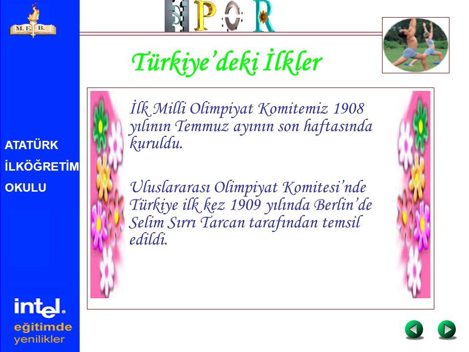 Türkiye'deki İlkler İlk Milli Olimpiyat Komitemiz 1908 yılının Temmuz ayının son haftasında kuruldu.