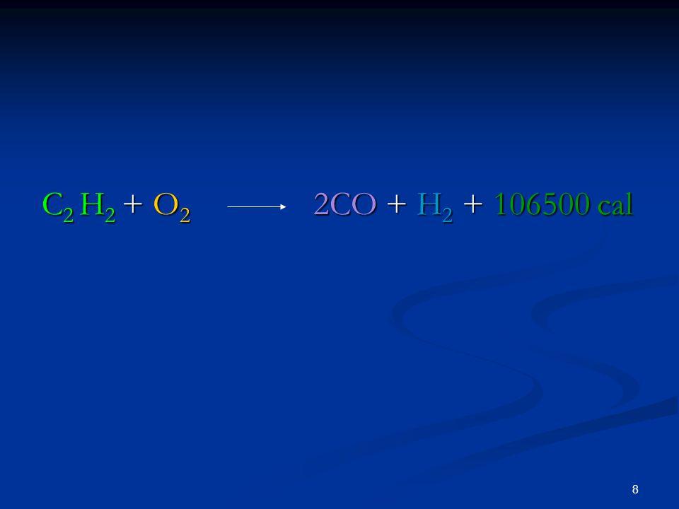 C2 H2 + O2 2CO + H2 + 106500 cal