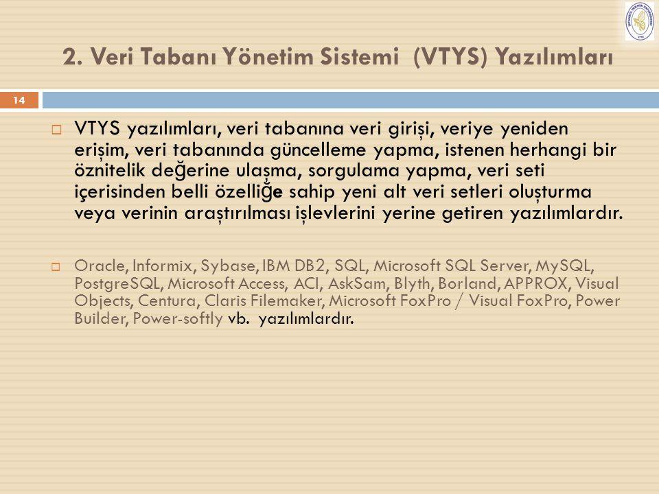 2. Veri Tabanı Yönetim Sistemi (VTYS) Yazılımları