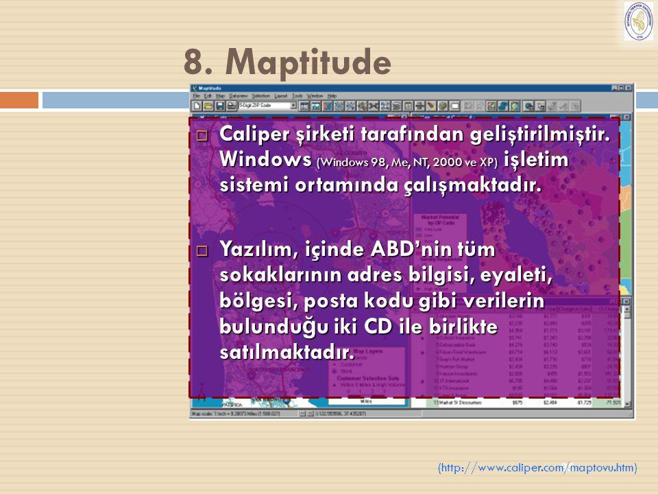 8. Maptitude Caliper şirketi tarafından geliştirilmiştir. Windows (Windows 98, Me, NT, 2000 ve XP) işletim sistemi ortamında çalışmaktadır.