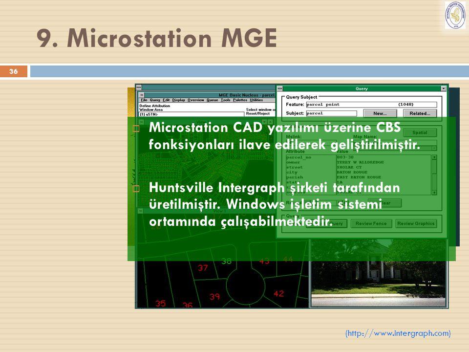 9. Microstation MGE Microstation CAD yazılımı üzerine CBS fonksiyonları ilave edilerek geliştirilmiştir.