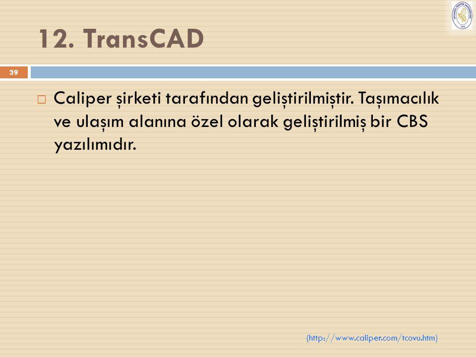12. TransCAD Caliper şirketi tarafından geliştirilmiştir. Taşımacılık ve ulaşım alanına özel olarak geliştirilmiş bir CBS yazılımıdır.